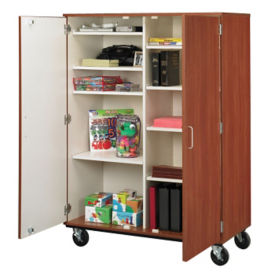 "Heavy-Duty Double Sided Mobile Teacher Storage Cabinet - 67""H, B30249"
