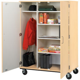 "Heavy-Duty Mobile Teacher Wardrobe/Storage Cabinet - 67""H, B30248"