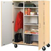"Heavy-Duty Mobile Teacher Wardrobe/Storage Cabinet - 67""H, B30248"