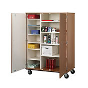 "Divided Twelve Shelf Mobile Teacher Storage Cabinet with Doors - 67""H, B30034"
