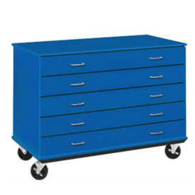"Lockable Five Drawer Mobile Teacher Storage Unit - 24""D, B30037"