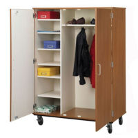 "Lockable Seven Shelf Mobile Teacher Wardrobe Cabinet - 67""H, B30039"