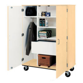 "Lockable Five Shelf Mobile Teacher Wardrobe Cabinet with File - 67""H, B30042"
