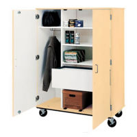 "Five Shelf Mobile Teacher Wardrobe Cabinet with File - 67""H, B30040"