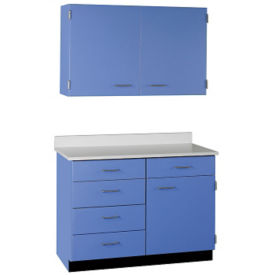 "Five Drawer, Three Door Wall and Base Cabinet Set - 48""W, B32178"