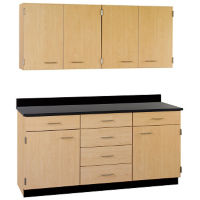 "Six Drawer, Six Door Wall and Base Cabinet Set - 60""W, B32179"