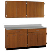 "Two Drawer, Eight Door Wall and Base Cabinet Set - 60""W, B32182"