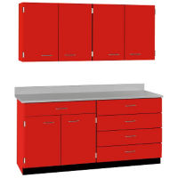 "Five Drawer, Six Door Wall and Base Cabinet Set - 66""W, B32186"
