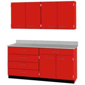 "Five Drawer, Six Door Wall and Base Cabinet Set - 72""W, B32190"