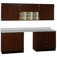 "Standing Workstation Wall and Base Cabinet Set - 90""W, B32191"