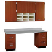 "Workstation with Wall Cabinet - 60""w, B32193"