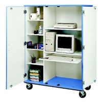 "Mobile Computer Center with Locking Doors - 67""H, B34605"