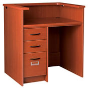 "Kneespace Circulation Desk with Patron Ledge and Locking Left Drawers 40""H, D35211"