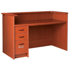 "Circulation Desk Station with Patron Ledge and Left Pedestal 60""W x 40""H, D35215"