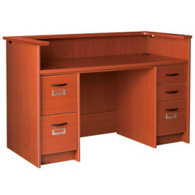 "Circulation Desk Station with Double Pedestal and Patron Ledge 60""W x 40""H, D35217"