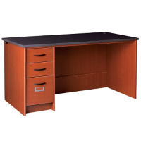 "Circulation Desk Station with Non-Locking Left Pedestal 60""W x 30""H, D35228"
