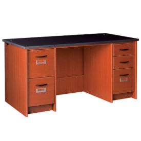 "Circulation Desk Locking Double Pedestal Station 60""W x 30""H, D35231"