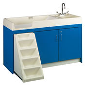 Toddler Changing Center with Right Hand Sink and 12 Bins, P30376