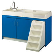 Toddler Changing Center with Left Hand Sink and 12 Bins, P30378
