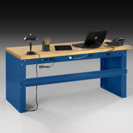 "Heavy-Duty Steel Desk with Butcher Block Wood Top - 72""W, D37548"