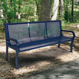 Plastic Coated Outdoor Bench with Perforated Design - 4'W, F10401