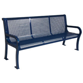 Perforated Steel 6' Bench with Back, F10143