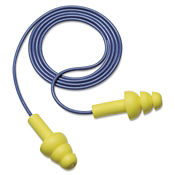 Triple-Flange Corded Earplug Box of 100, H10072