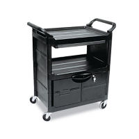 2 Shelf Utility Cart with Locking Cabinet, B34298