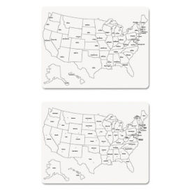 "Two-Sided U.S. Map Whiteboard 24""H x 18""W, B23421"