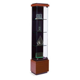 "Four Shelf Tower Display Case with Lighting - 73""H, B34506"