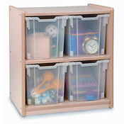 Two Compartment Storage Unit with Four Bins, B30506