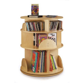 3 Shelf Revolving Media Carousel Stand, P30338