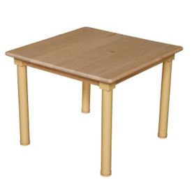 "Solid Birch Adjustable Height Table - 30"" x 30"", A11162"