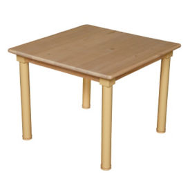 "Solid Birch Adjustable Height Table - 36"" x 36"", A11163"