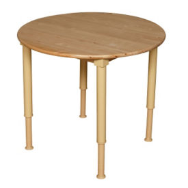 "Solid Birch Adjustable Height Table - 30"" Diameter, A11164"