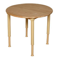 "Solid Birch Adjustable Height Table - 36"" Diameter, A11165"