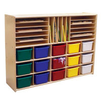 Multi-Cubby Storage Unit with Colorful Trays, B34467