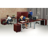 Four Person Compact L-Desk Office Set, D35711