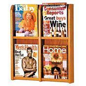 Oak Literature Rack with Acrylic Front 4 Magazine Pockets, D33029