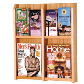 Oak Literature Rack with Acrylic Front 2 Magazine & 4 Brochure Pockets, D33030