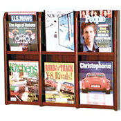 Oak Literature Rack with Acrylic Front 6 Magazine Pockets, D33031