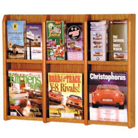 Oak Literature Rack with Acrylic Front 3 Magazine & 6 Brochure Pockets, D33032