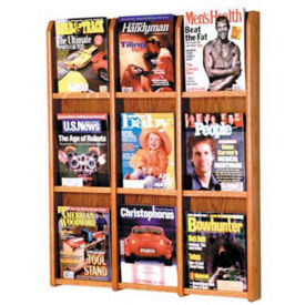 Oak Literature Rack with Acrylic Front 9 Magazine Pockets, D33033