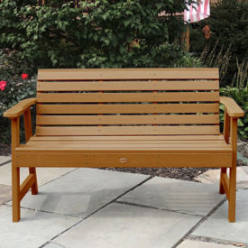 "Synthetic Wood Horizontal Slat Outdoor Bench 48""W, F10007"