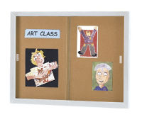 "48"" x 72"" Sliding Door Bulletin Board, B20518"