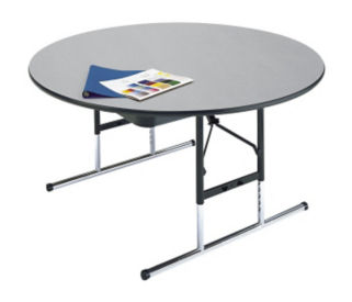 "Adjustable Height Round Folding Table 48"" Diameter 17"" to 25"" High, A10038"
