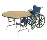 """Adjustable Height Round Folding Table 42"""" Diameter 22"""" to 30"""" High, A10040"""