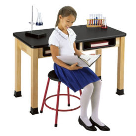 "Science Table 42"" wide x 60"" long with Book Compartment, D45087"