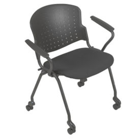 Nesting Stack Chair with Upholstered Seat and Arms, C67770