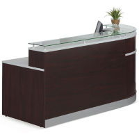 "Floating Glass Top Reception Desk - 64""D x 95""W , D30220"
